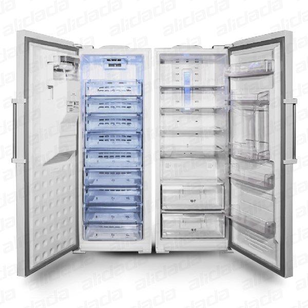 نمای درباز خالی یخچال فریزر دوقلو الکترواستیل مدل Es23 یخساز اتوماتیک