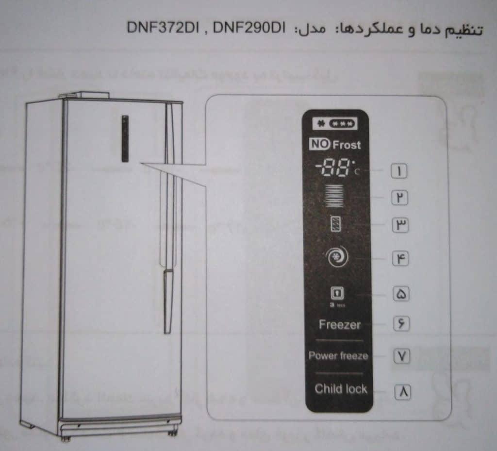 پنل لمسی فریزر دونار مدل 290