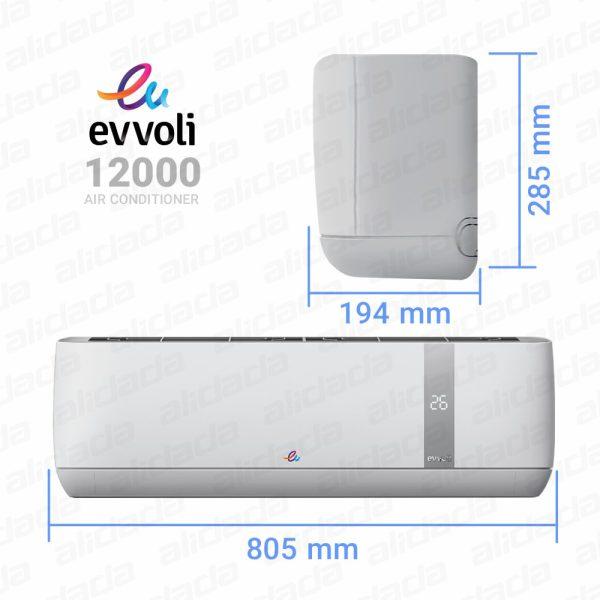 ابعاد کولر گازی ۱۲۰۰۰ ایوولی مدل EVCIS-12K-J