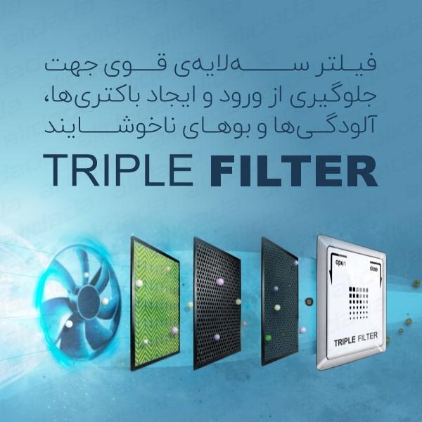 فیلتر های سه لایه یخچال فریزر ساید بای ساید اسنوا مدل S8-2322