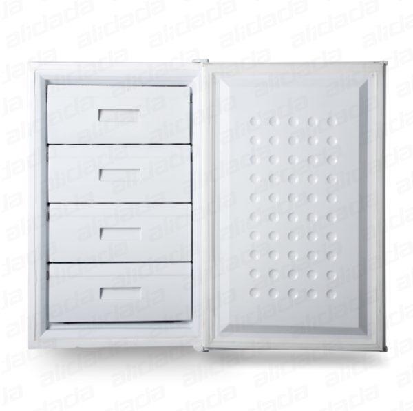 نمای درب باز جلو رنگ سفید فریزر 4 کشو ایستکول مدل TM-946